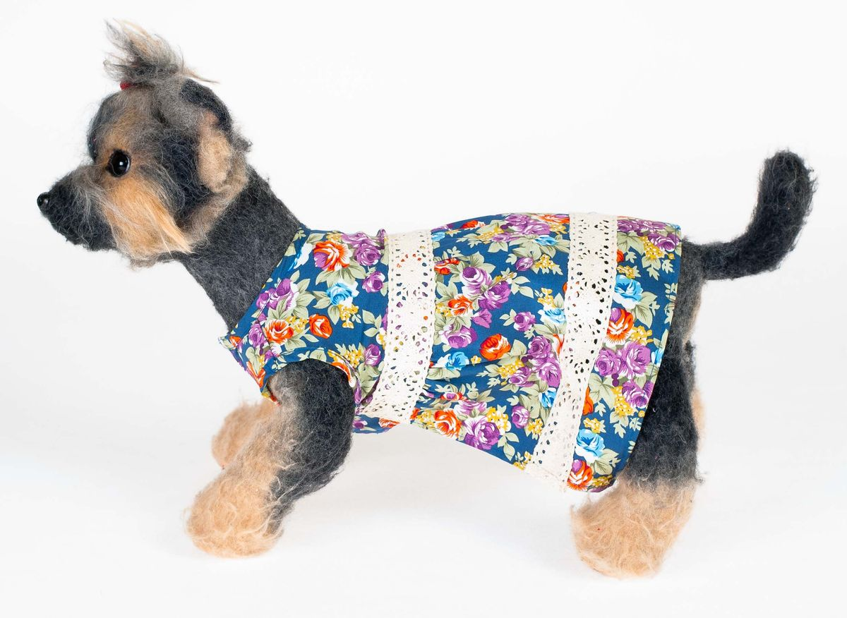 Платье для собак Dogmoda Кантри. Размер 3 (L)DM-140015Прелестное и женственное платье Dogmoda Кантри превратит вашу собачку в привлекательную молодую леди. Цветочный принт создаст летний, загородный образ.Обхват шеи: 29 см.Обхват груди: 45 см.Длина по спинке: 28 см.Одежда для собак: нужна ли она и как её выбрать. Статья OZON Гид