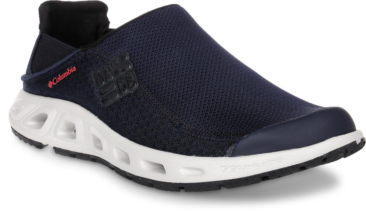 Кроссовки мужские Columbia Ventslip II, цвет: темно-синий. 1619991-439. Размер 8 (40,5)1619991-439Водные мужские кроссовки Ventslip II от Columbia прекрасно подойдут для активного отдыха.Верх модели выполнен из быстросохнущей текстильной сетки с защитой мыса и усиленным бампером и оформлен логотипом и названием бренда. Модель фиксируется на ноге благодаря эластичным вставкам.Подкладка исполнена из текстиля. Анатомическая стелька из мягкого ЭВА-материала позволяет ногам чувствовать себя наиболее комфортно.Промежуточная подошва из материала Techlite обеспечивает отличную амортизацию и поддержку. Дренажная подошва обеспечивает вентиляцию и отток воды. Подметка выполнена из резины Omni-Grip, разработанной специально для ходьбы по влажным поверхностям. Такие кроссовки подойдут для активного отдыха как на суше, так и в воде, и у воды.