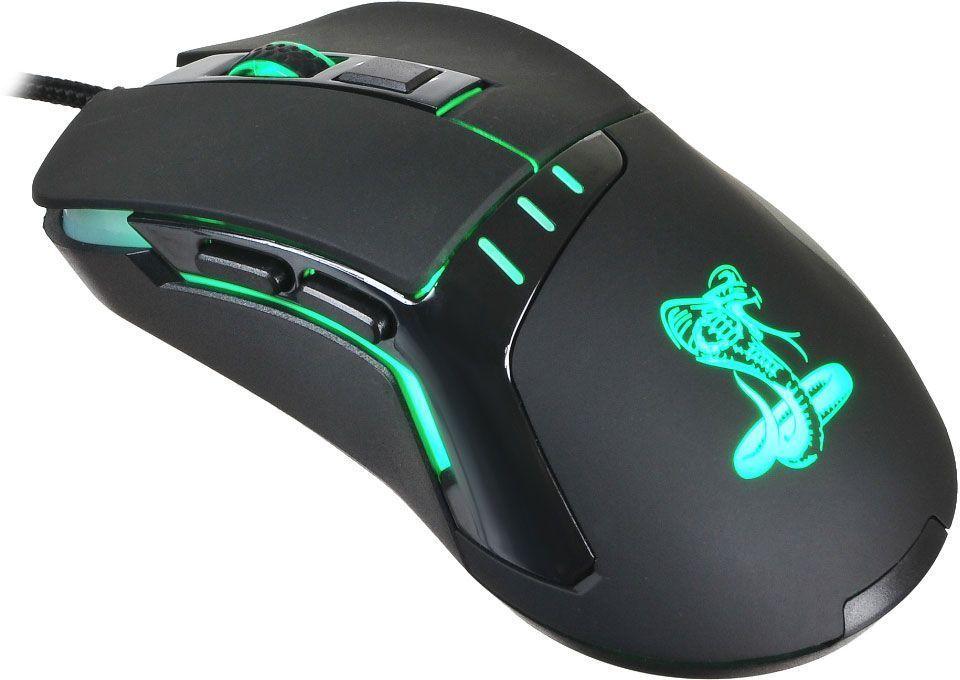 Oklick 865G Snake, Black игровая мышь865GБольшая и удобная мышь Oklick 865G Snake создана для работы и развлечения. Ассиметричный дизайн и цепкое покрытие боковых граней обеспечивают крепкий захват и удобное положение кисти. Мышь имеет 6 элементов управления, сенсор высокого разрешения 800/1200/1600/2400 dpi, 1,8 м шнур в прочной оплетке, красивую изумрудную подсветку графических элементов.