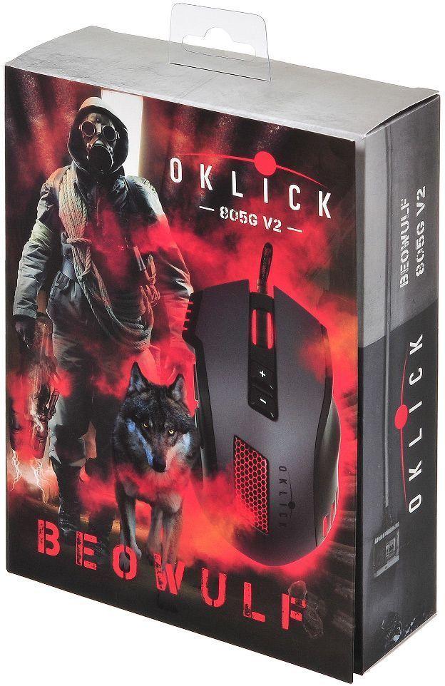 Oklick 805G V2 Beowulf, Black игровая мышь805G V2Мышь Oklick 805G V2 Beowulf имеет эргономичный дизайн, позволяющий с комфортом проводить долгое время за игрой. Эффектная подсветка кнопок придает мыши индивидуальность. Кабель имеет прочную, устойчивую к истиранию оплетку. Не требует установки драйверов.