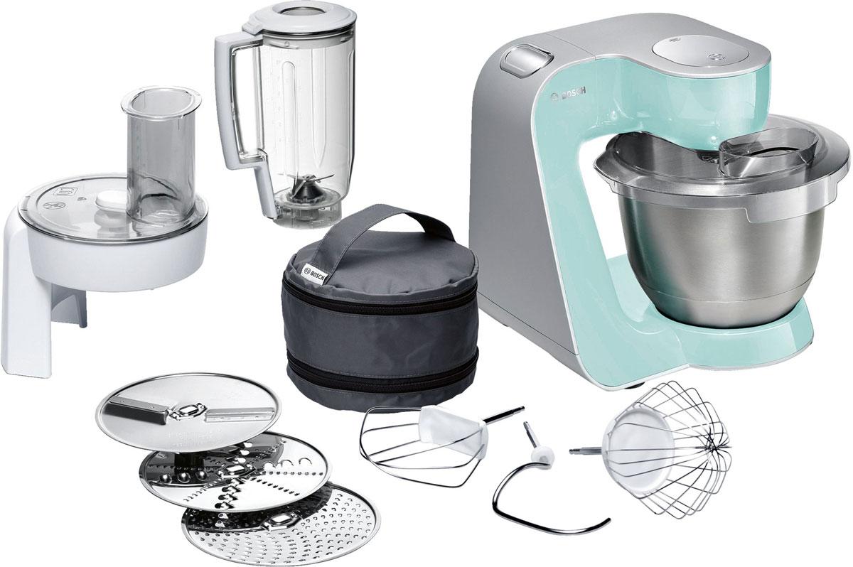 Bosch MUM58020 кухонный комбайнMUM58020Bosch MUM58020 - мощная кухонная машина с многосторонними возможностями для готовки и выпечки.Данная модель легко обрабатывает большие количества ингредиентов (до 1 кг муки плюс ингредиенты) благодаря мощному мотору 1000 Вт.Отличное качество замеса теста благодаря особой форме внутренней поверхности чаши и благодаря планетарному вращению насадок в трех плоскостях 3D. Возможно замесить до 2,7 кг легкого теста/ 1,9 кг дрожжевого теста.Прибор просто и удобно использовать благодаря функции автоматического поднятия рычага EasyArmLift. Функция автопарковки упрощает процесс смены насадок.Особую многофункциональность обеспечивают высококачественные кондитерские насадки (венчик для взбивания, венчик для смешивания, насадка для замешивания теста) и долговечный измельчитель с тремя дисками для разных типов измельчения: измельчения, шинковки и нарезки и блендер.Прибор легко чистить благодаря гладкой поверхности. А насадки можно мыть в посудомоечной машине.