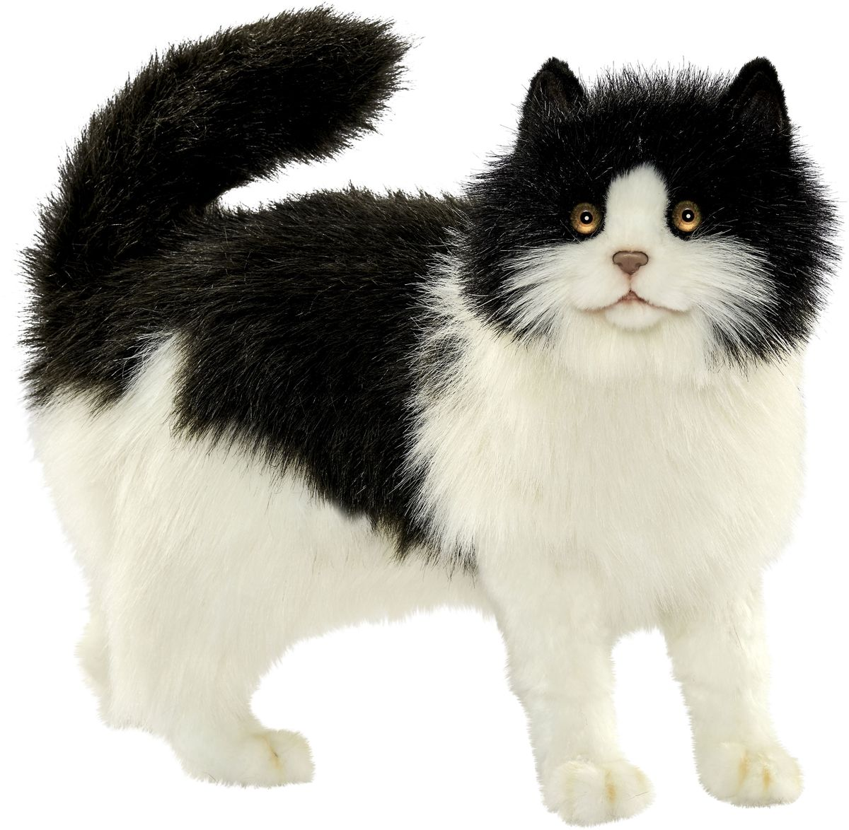Hansa Мягкая игрушка Кошка 40 см цвет черный белый цена и фото