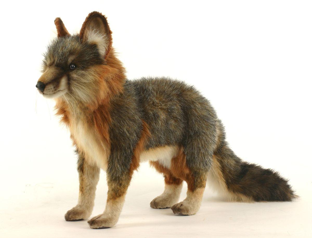 Hansa Мягкая игрушка Лисица цвет серый 40 см - Мягкие игрушки