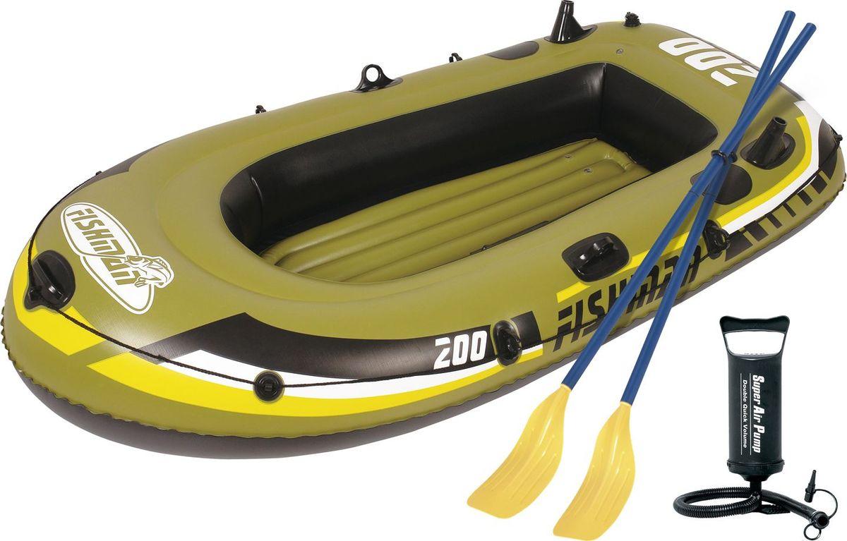 Лодка надувная Jilong Fishman 200 Set, с веслами и насосом, цвет: темно-зеленый, 218 см х 110 см х 36 см лодка надувная fishman ii 500 set весла насос 328х144х46см jilong