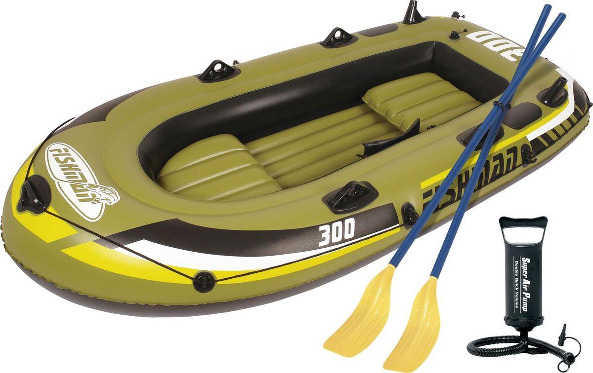 Лодка надувная Jilong Fishman 300 Set, с веслами и насосом, цвет: темно-зеленый, 252 см х 125 см х 40 смJL007208-1NЛодка отлично подходит для рыбалки, плавания по речкам и озерам. Материал лодки имеет высокую прочность. Он стоек к воздействию бензина, морской воды. В комплектацию входит трос. На лодку есть возможность установить мотор. Для этого нужно докупить транец. По бокам лодки установлены держатели для весел и удочек. Особенности:Пластиковые весла;Ручной насос;Надувной пол;Двухуровневые сидения;Возможна подвеска электромотора;Держатели для удочек;Крепление для весел;Держатель для весел;Стропа по периметру лодки;2-х камерная конструкция лодки для большей безопасности;Самоклеящаяся заплатка в комплекте. Характеристики:Размер лодки: 252 см х 125 см х 40 см. Материал: ПВХ. Максимальная грузоподъемность: 265 кг. Размер упаковки: 56,5 см х 23,5 см x 37 см. Производитель: Китай. Артикул: JL007208-1N.