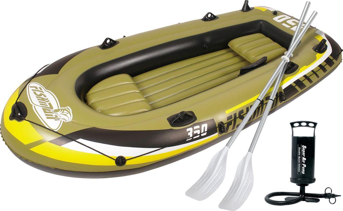 Лодка надувная Jilong Fishman 350 Set, с веслами и насосом, цвет: темно-зеленый, 305 см х 136 см х 42 смJL007209-1NЛодка отлично подходит для рыбалки, плавания по речкам и озерам. Материал лодки имеет высокую прочность. Он стоек к воздействию бензина, морской воды. В комплектацию входит трос. На лодку есть возможность установить мотор. Для этого нужно докупить транец. По бокам лодки установлены держатели для весел и удочек. Особенности:Алюминиевые весла;Ручной насос;Надувной пол;Двухуровневые сидения;Возможна подвеска электромотора;Держатели для удочек;Крепление для весел;Держатель для весел;Стропа по периметру лодки;2-х камерная конструкция лодки для большей безопасности;Самоклеящаяся заплатка в комплекте. Характеристики:Размер лодки: 305 см х 136 см х 42 см. Материал: ПВХ. Толщина армированного ПВХ 0,57 мм. Максимальная грузоподъемность: 340 кг. Размер упаковки: 66,5 см х 23,5 см x 43 см. Производитель: Китай. Артикул: JL007209-1N.