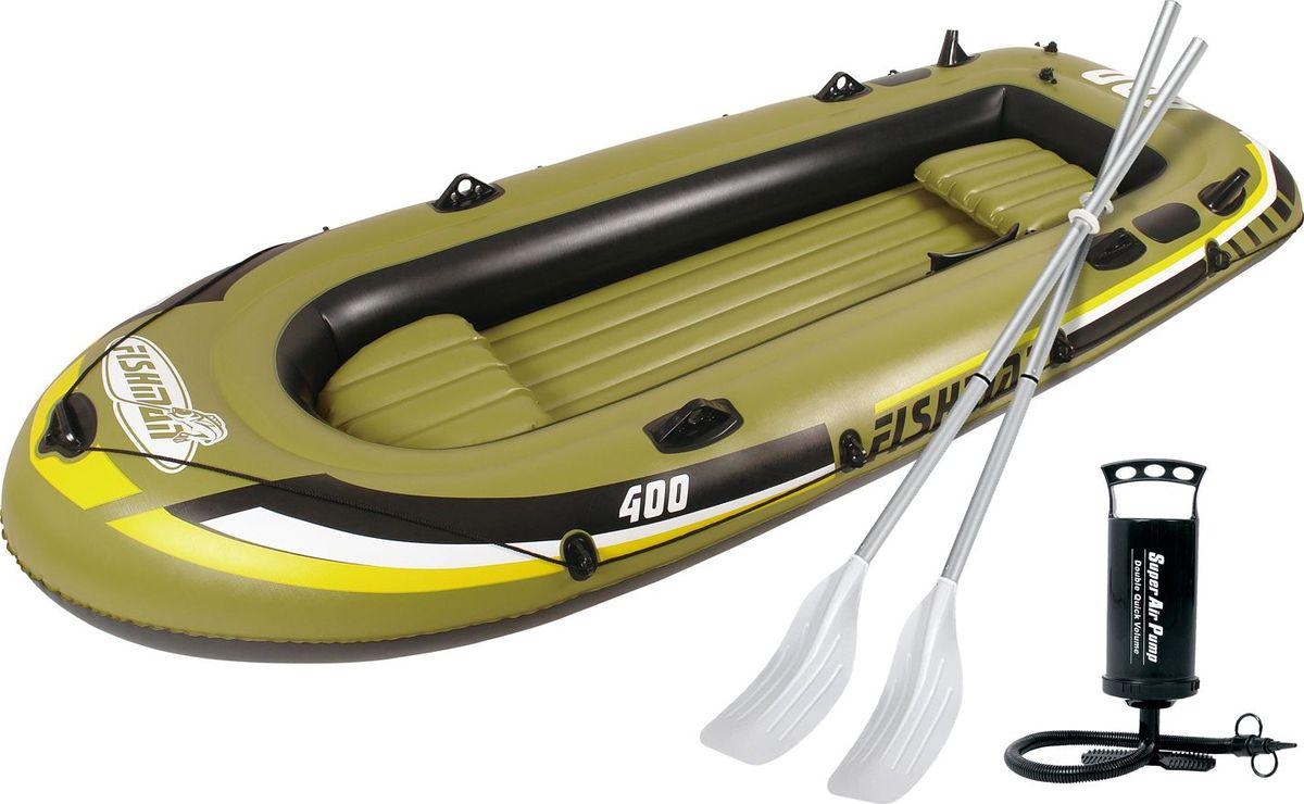 Лодка надувная Jilong Fishman 400SET, с веслами и насосом, цвет: темно-зеленый, 340 х 142 х 48 смJL007210-1NЛодка отлично подходит для рыбалки, плавания по речкам и озерам. Материал лодки имеет высокую прочность. Он стоек к воздействию бензина, морской воды. На лодку есть возможность установить мотор. Для этого нужно докупить транец. По бокам лодки установлены держатели для весел и удочек. Особенности:Алюминиевые весла;Ручной насос;Надувной пол;Двухуровневые сидения;Возможна подвеска электромотора;Держатели для удочек;Крепление для весел;Держатель для весел;Стропа по периметру лодки;Двухкамерная конструкция лодки для большей безопасности;Самоклеящаяся заплатка в комплекте.
