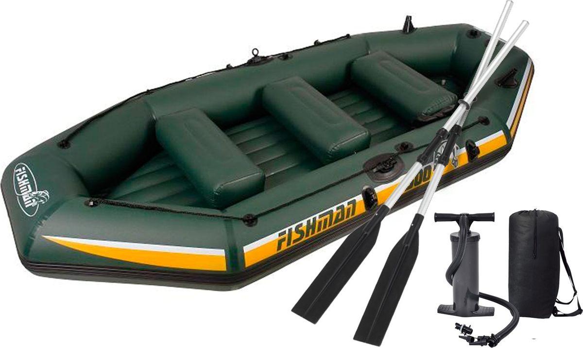 Лодка надувная Jilong Fishman 500SET, с веслами и насосом, цвет: темно-зеленый, 340 х 144 х 46 см