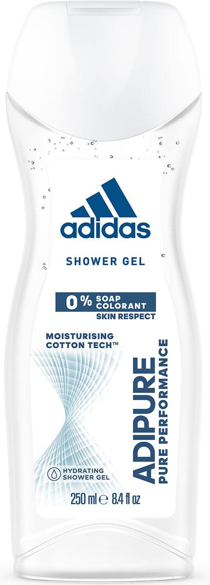 Adidas Гель для душа Adipure женский, 250 мл34013151052Гель для душа Adipure со специальной формулой для чистой эффективности и ухода за кожей. Гель для душа adipure обеспечивает бережное очищение и ощущение свежести. Для мягкой и увлажненной кожи. Формула:0% мыла;0% красителей;Ph сбалансирован.Содержит комплекс cotton-tech с увлажняющими компонентами и экстрактом хлопка. Абсорбирующая технология. 0% солей алюминия. Чистая эффективность. Прозрачная текстура.