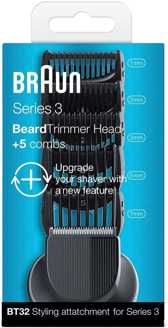 Braun BT32 набор насадок для стайлинга к Series 381547172Превратите свою бритву Braun Series 3 в стайлер и триммер с помощью комплекта насадок Braun BT32. В комплект входят головка-триммер длябороды с 5 дополнительными гребнями — вы легко сможете подравнивать контуры бороды и создавать эффект щетины длиной 1–7 мм.• 2 новые функции своей бритве• Четкие контуры: сменная головка-триммер для более точного бритья• Точное подравнивание: 5 гребней 1–7 мм для создания мужественного образа с 3-дневной щетиной• Совместима с бритвами нового и старого поколений Series 3
