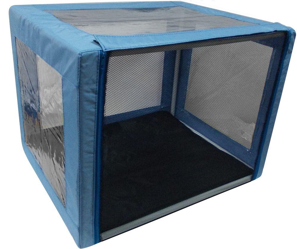 Клетка выставочная Заря-плюс Аквариум, с чехлом, цвет: голубой, 76 х 56 х 56 см для презентации на выставке