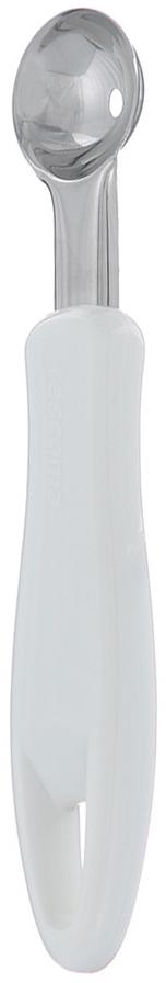 """Ложка-нуазетка Tescoma """"Presto"""" превосходно подходит для вырезания шариков из фруктов, овощей, молотого мяса и т.д. Изделие выполнено из нержавеющей стали, ручка изготовлена из прочной пластмассы белого цвета. Ложка имеет специальное ушко, за которое ее легко подвешивать в удобном месте. Такой прибор займет достойное место среди аксессуаров на Вашей кухне.  Можно мыть в посудомоечной машине."""