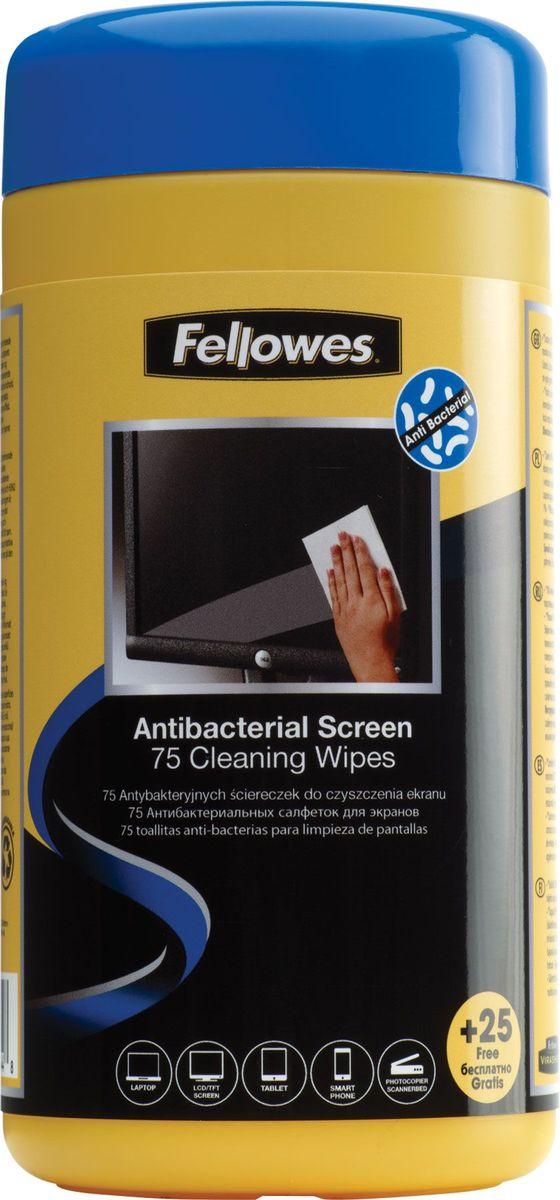 Fellowes FS-22117 антибактериальные салфетки для экранов (100 шт) влажные салфетки fellowes fs 99703 100 шт