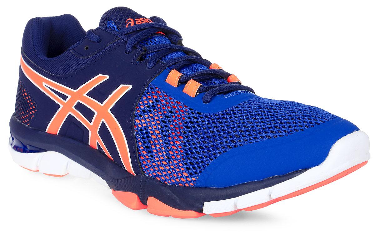 Кроссовки для фитнеса мужские Asics Gel-Craze Tr 4, цвет: темно-синий, синий, оранжевый. S705N-4930. Размер 9H (42)S705N-4930С кроссовками Asics Gel-Craze Tr 4, вы сможете охватить все виды деятельности: от беговой дорожки до фитнеса и тяжелой атлетики. Эта многофункциональная модель сочетает высокие защитные свойства и восприимчивость, помогая спортсмену показать себя с наилучшей стороны. С этими кроссовками вы возьмете от тренировки все, ведь они делают любой вид деятельности комфортнее, позволяя сфокусироваться на упражнении. Поддержка стопы от середины до носка обеспечит надежную фиксацию. Вы можете свободно переносить вес, покачиваясь из стороны в сторону или поворачиваясь на 360 градусов. Приседания и подъем штанги станут более комфортными благодаря более устойчивой платформе и жесткой подошве, а амортизатор GEL, поможет вам на кардиотренажерах, чтобы заставить поработать сердце. Современный дизайн, минимальное количество швов и накладываемых друг на друга элементов снижают вероятность натирания и раздражения кожи. Вы сможете сконцентрироваться на достижении новых рекордов в подъеме веса и скорости.