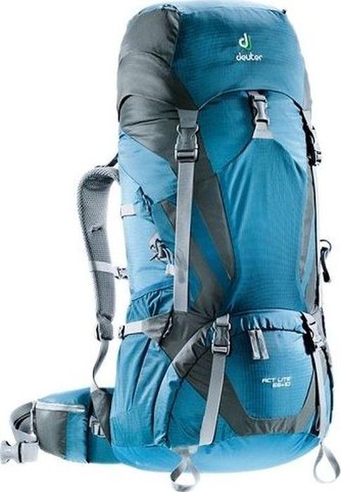 Рюкзак туристический Deuter ACT Lite, цвет: синий, темно-серый, 65+10 л4340115_3428Надежный вместительный рюкзак Deuter ACT Lite для путешествий и экспедиций: совершенная подвеска с комфортной спинкой, прямой доступ в основное отделение – сочетание комфорта и функциональности. Благодаря подвижным набедренным крыльям Vari Flex, системе спинки Vari Quick и каркасу X-Frames, одна и та же система подвески подходит к любым грузам от средних до тяжёлых, оставаясь устойчивой, гибкой и эффективно распределяющей нагрузку. Система Aircontact с продуманной эргономичной системой подушек спинки очень хорошо сидит на спине и обеспечивает отличную вентиляцию со всех сторон.- экономия энергии и комфорт, благодаря анатомическому подвижному набедренному поясу Vari Flex, отслеживающему любое ваше движение- компрессионные ремни на набедренных крыльях для точной регулировки положения груза- поясная застёжка Pull-Forward легко регулируется даже под тяжёлым грузом- прочный сотовый алюминиевый X-образный каркас передает нагрузку на набедренный пояс- благодаря специальному покрою верхней части рюкзака и возможности регулировать положение верхнего клапана, обеспечивается свободное движение головы- три боковых компрессионных ремня - боковые карманы со складками, питьевая система» карман на молнии в набедренном поясе- карман в верхнем клапане- большой внутренний карман на молнии- две цепочки петель daisy chain для навески снаряжения- петли на верхнем клапане для крепления дополнительных грузов- петля для ледоруба- боковые карманы для стоек палатки - двухслойное дно- карманы на молнии для карт сбокуЧто взять с собой в поход?. Статья OZON Гид