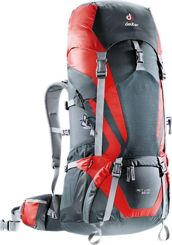 Рюкзак туристический Deuter ACT Lite, цвет: красный, серый, 65+10 л4340115_4560Надежный вместительный рюкзак Deuter ACT Lite для путешествий и экспедиций: Совершенная подвеска с комфортной спинкой, прямой доступ в основное отделение – сочетание комфорта и функциональности. Благодаря подвижным набедренным крыльям Vari Flex, системе спинки Vari Quick и каркасу X-Frames, одна и та же система подвески подходит к любым грузам от средних до тяжёлых, оставаясь устойчивой, гибкой и эффективно распределяющей нагрузку. Система Aircontact с продуманной эргономичной системой подушек спинки очень хорошо сидит на спине и обеспечивает отличную вентиляцию со всех сторон.- экономия энергии и комфорт, благодаря анатомическому подвижному набедренному поясу Vari Flex, отслеживающему любое ваше движение- компрессионные ремни на набедренных крыльях для точной регулировки положения груза- поясная застёжка Pull-Forward легко регулируется даже под тяжёлым грузом- прочный сотовый алюминиевый X-образный каркас передает нагрузку на набедренный пояс- благодаря специальному покрою верхней части рюкзака и возможности регулировать положение верхнего клапана, обеспечивается свободное движение головы- три боковых компрессионных ремня - боковые карманы со складками, питьевая система» карман на молнии в набедренном поясе- карман в верхнем клапане- большой внутренний карман на молнии- две цепочки петель daisy chain для навески снаряжения- петли на верхнем клапане для крепления дополнительных грузов- петля для ледоруба- боковые карманы для стоек палатки - двухслойное дно- карманы на молнии для карт сбоку Что взять с собой в поход?. Статья OZON Гид