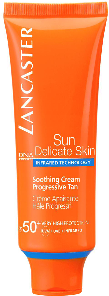 Lancaster Sun Delicate Skin Крем успокаивающий Постепенный загар spf 50+, 50 мл40333121000Благодаря более совершенной защите кожа сохраняет свою красоту надолго. Она приобретает постепенный красивый загар и становится увлажненной и шелковистой. Раздраженная кожа успокоена.
