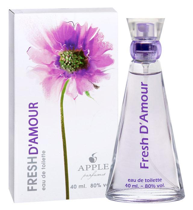 Apple Parfums Туалетная вода Fresh DAmour женская 40ml33766Начальные ноты:глициния, листья лимона. Ноты сердца:пион, мускус, зелень, сирень, цветы персика. Базовые ноты:османтус, амбра, чай, кедр
