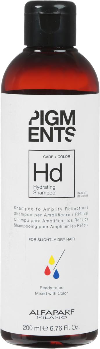 Alfaparf Pigments Hydrating Shampoo Шампунь увлажняющий для слегка сухих волос, 200 мл14095Мягкий шампунь предназначен для увлажнения нормальных и слегка сухих волос. Специально разработанная формула поддерживает цвет и гарантирует стабильность пигмента в смеси. Входящие в состав активные ингредиенты обладают запечатывающим действием, благодаря чему создается защитная сетка, которая обволакивает волос, помогая сохранить правильный баланс влаги. Волосы мгновенно становятся блестящими, легкими и шелковистыми.БЕЗ СУЛЬФАТОВ И ПАРАБЕНОВ Объем: 200 мл