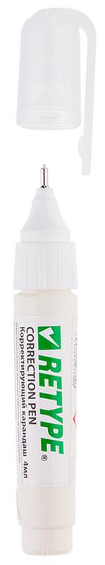 Retype Корректирующий карандаш 4 млPS140-03Корректирующий карандаш Retype с металлическим наконечником применяется для точечных и мелких исправлений. Подходит для любого типа бумаги и чернил. Металлический наконечник обеспечивает оптимальную подачу корректирующей жидкости. Быстро сохнет, легко наносится. Не содержит вредных и токсичных элементов, не вызывает аллергических реакций.