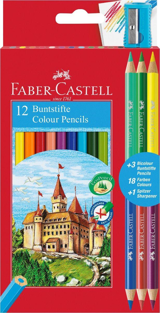 Faber-Castell Набор цветных карандашей Замок 12 цветов с точилкой + 3 двухцветных карандаша110312Набор цветных карандашей Faber-Castell Замок шестигранной формы из качественной древесины - гарантия легкогозатачивания при помощи стандартных точилок. Толщина грифеля 3 мм. Специальная технология вклеивания (SV)предотвращает поломку грифеля. Покрыты лаком на водной основе - бережным по отношению к окружающей средеи здоровью детей. Отстирываются с большинства обычных тканей.