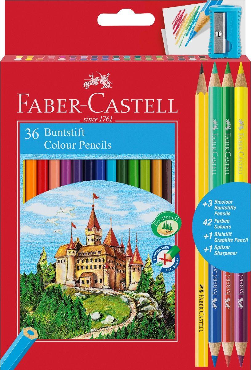 Faber-Castell Набор цветных карандашей Замок 36 цветов с точилкой + 3 двухцветных карандаша + Карандаш чернографитовый110336В наборе Faber-Castell 36 цветных шестигранных карандашей, не требующих сильного нажатия. Карандаши обладают яркими цветами, безопасны при использовании по назначению, легко затачиваются, изготовлены из высококачественной древесины, имеют прочный грифель.Набор карандашей откроет юным художникам новые горизонты для творчества, поможет отлично развить мелкую моторику рук, цветовое восприятие, фантазию и воображение. Корпус изготовлен из натуральной древесины, гладкость которой обеспечена многослойной покраской. Карандаши удобно держать в руках, а мягкий грифель не требует сильного нажима и легко стирается ластиком. Вместе с карандашами в наборе имеется точилка из прочного пластика с рифленой областью захвата. Острое стальное лезвие обеспечивает высококачественную и точную заточку деревянных карандашей. А также в комплекте 3 двусторонних цветных карандаша и один чернографитовый.