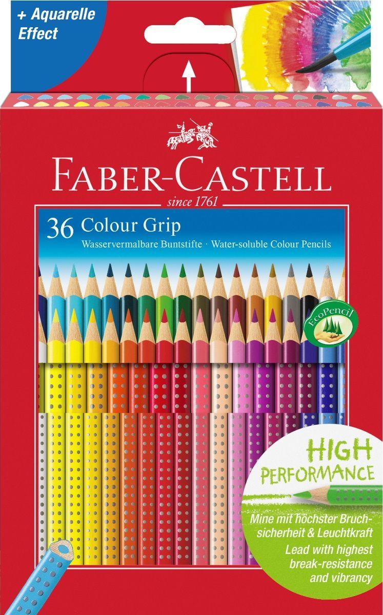 Faber-Castell Набор цветных карандашей Grip 2001 36 цветов112442Faber-Castell Grip 2001 - карандаши наивысшего качества эргономичнойтрехгранной формы. В наборе 36 ярких, насыщенных цветов. Каждый карандаш имеет размываемыйводой грифель и специальное место для написания имени. Все цветныекарандаши имеют запатентованную Grip антискользящую зону захвата с малымимассажными шашечками. Специальная SV технология вклеивания грифеля предотвращает поломку припадении на пол. Корпус покрыт лаком на водной основе - бережным по отношениюк окружающей среде и здоровью детей. Каждый карандаш изготовлен из качественного, мягкого дерева (калифорнийскийкедр) - гарантия легкого затачивания при помощи стандартных точилок. Наборкарандашей отстирываются от большинства тканей.