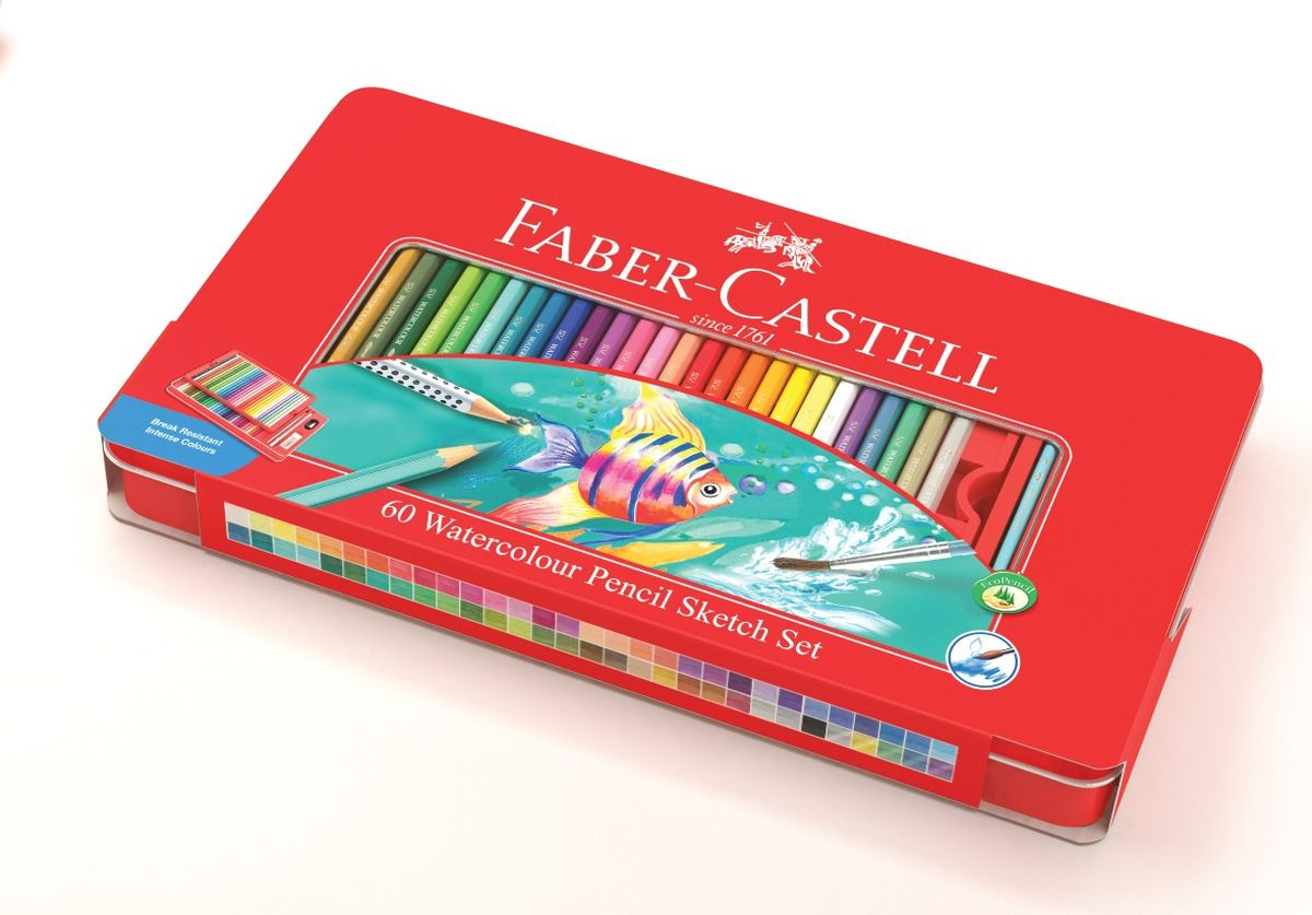 Faber-Castell Набор цветных акварельных карандашей Рыбки с кисточкой 60 цветов115964Набор Faber-Castell Рыбки - акварельные карандаши наивысшего качества шестигранной формы.В наборе 60 ярких, насыщенных цветов. Специальная технология вклеивания (SV) предотвращает поломку грифеля, толщина грифеля 3 мм. Отстирываются с большинства обычных тканей, покрыты лаком на водной основе - бережным по отношению к окружающей среде и здоровью детей. Качественная древесина - гарантия легкого затачивания при помощи стандартных точилок.