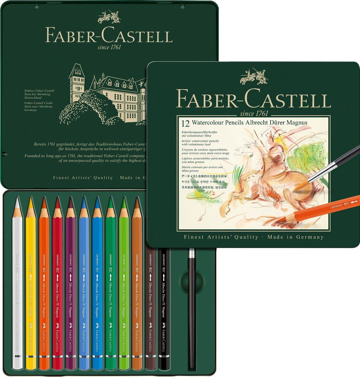 Faber-Castell Набор цветных акварельных карандашей Albrecht Durer 12 цветов116912Набор Faber-Castell Albrecht Durer - акварельные карандаши наивысшего качества эргономичной формы. В наборе 12 ярких, насыщенных цветов. Толстый грифель толщиной 3,8 мм (5,3 мм для версии Magnus). Высококачественные пигменты гарантируют устойчивость к выцветанию, выразительный цвет.