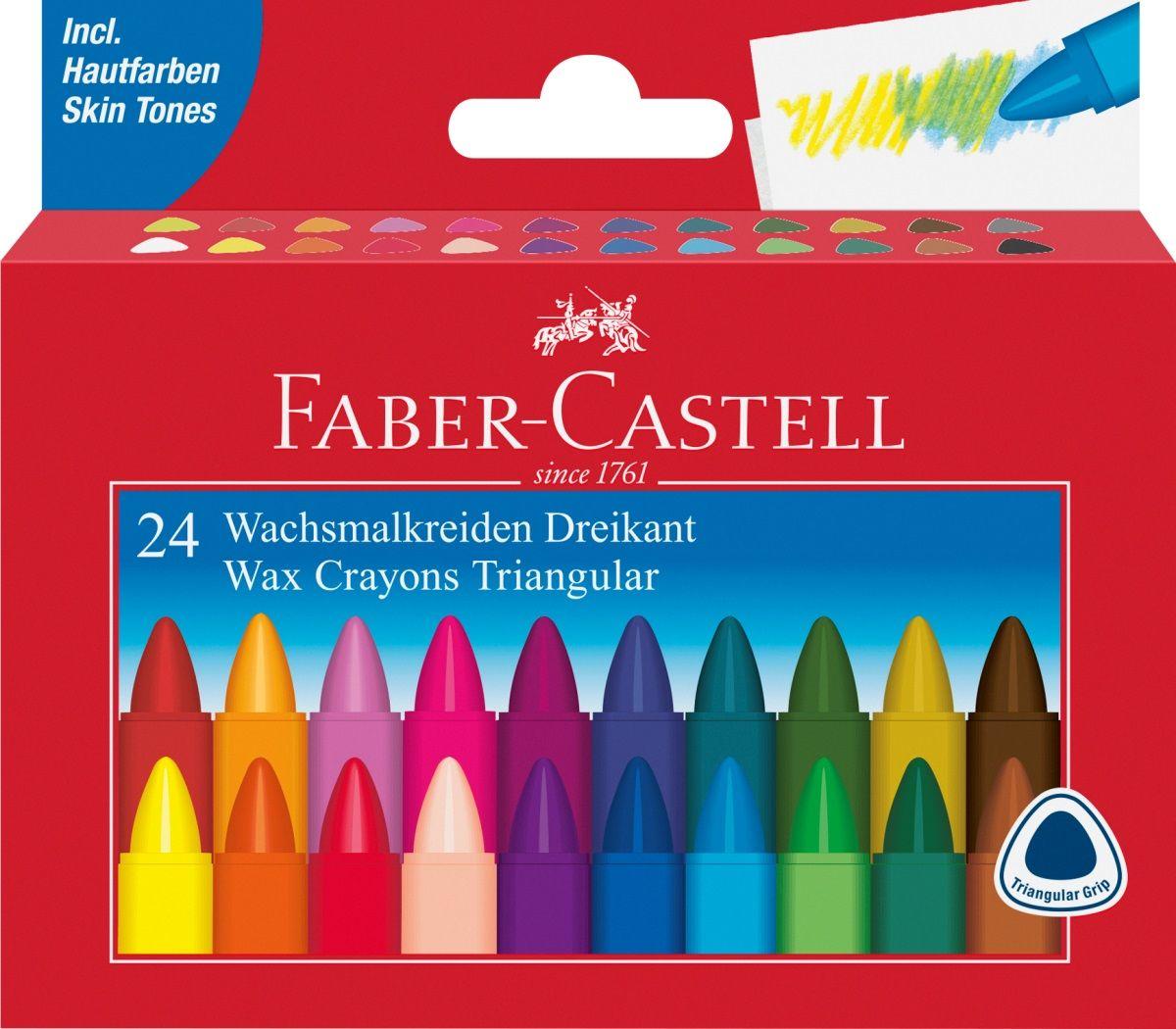 Faber-Castell Набор восковых карандашей Triangular трехгранные 24 цвета120024Набор восковых карандашей Faber-Castell Triangular - карандаши имеют трёхгранную эргономичную форму, яркие цвета. Водоустойчивые, пригодны для комбинирования различных техник. Захват, оснащенный защитной гигроскопичной бумагой.