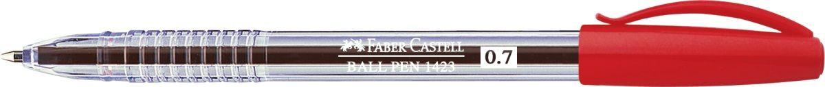 Faber-Castell Ручка шариковая 1423 красная1354030Шариковая ручка Faber-Castell 1423 эргономичной формы станет незаменимым атрибутом учебы илиработы. Прозрачный корпус ручки выполнен из пластика. Вентилируемый колпачок соответствует цвету чернил. Высококачественные чернила позволяют добиться идеальной плавности письма.Особенности:толщина линии 0,7 ммудобное и мягкое использованиевысококачественные чернила, не выцветаютэргономичная формадлина письма: ~3000 м
