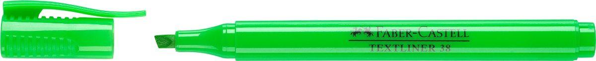 Faber-Castell Текстовыделитель 38 цвет зеленый157763Текстовыделитель Faber-Castell станет незаменимым предметом, как на столе школьника, так и студента.Изделие имеет привлекательный полупрозрачный дизайн. Маркер со скошенным наконечником идеален для всех видов бумаги. Чернила на водной основе.Линия маркировки шириной 5, 2 или 1 мм.