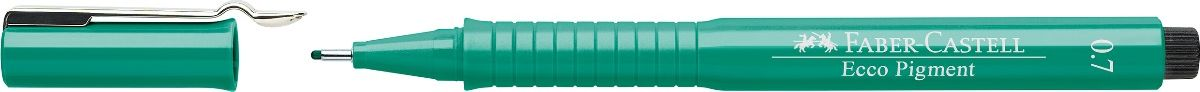 Faber-Castell Ручка капиллярная Ecco Pigment цвет зеленый 166763166763 идеальны для письма, рисования, набросковпигментные черные чернилаводо- и светоустойчивыепозволяют рисование с линейкой и по шаблонудлинный кончик с металлическим корпусомэргономичная область захватаметаллический клип9 типов толщины линии