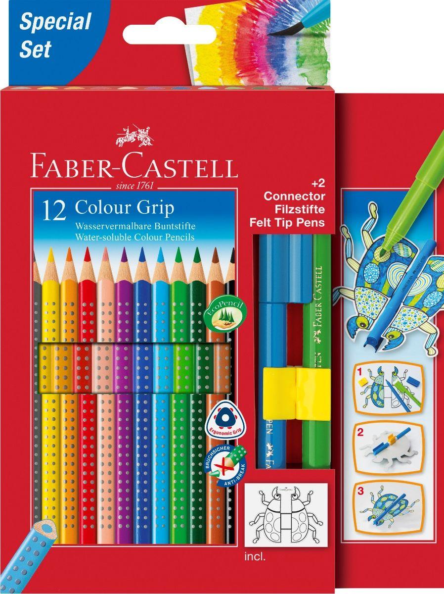 Faber-Castell Набор цветных карандашей Grip 2001 12 цветов + 2 фломастера Connector201396Faber-Castell Grip 2001 - карандаши наивысшего качества эргономичной трехгранной формы.В наборе 12 ярких, насыщенных цветов и 2 фломастера. Каждый карандаш имеет размываемый водой грифель и специальное место для написания имени. Все цветные карандаши имеют запатентованную Grip антискользящую зону захвата с малыми массажными шашечками.Специальная SV технология вклеивания грифеля предотвращает поломку при падении на пол. Корпус покрыт лаком на водной основе - бережным по отношению к окружающей среде и здоровью детей.Каждый карандаш изготовлен из качественного, мягкого дерева (калифорнийский кедр) – гарантия легкого затачивания при помощи стандартных точилок. Набор карандашей и фломастеров отстирываются от большинства тканей.