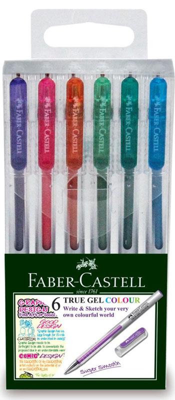 Faber-Castell Ручка гелевая True Gel 6 цветов242622Гелевая ручка Faber-Castell True Gel имеет наконечник 0,7 мм. Ручка обладает очень мягким письмом.Ручка имеет водостойкие исветостойкие чернила; эргономичную зону захвата; колпачок с упругим клипом.