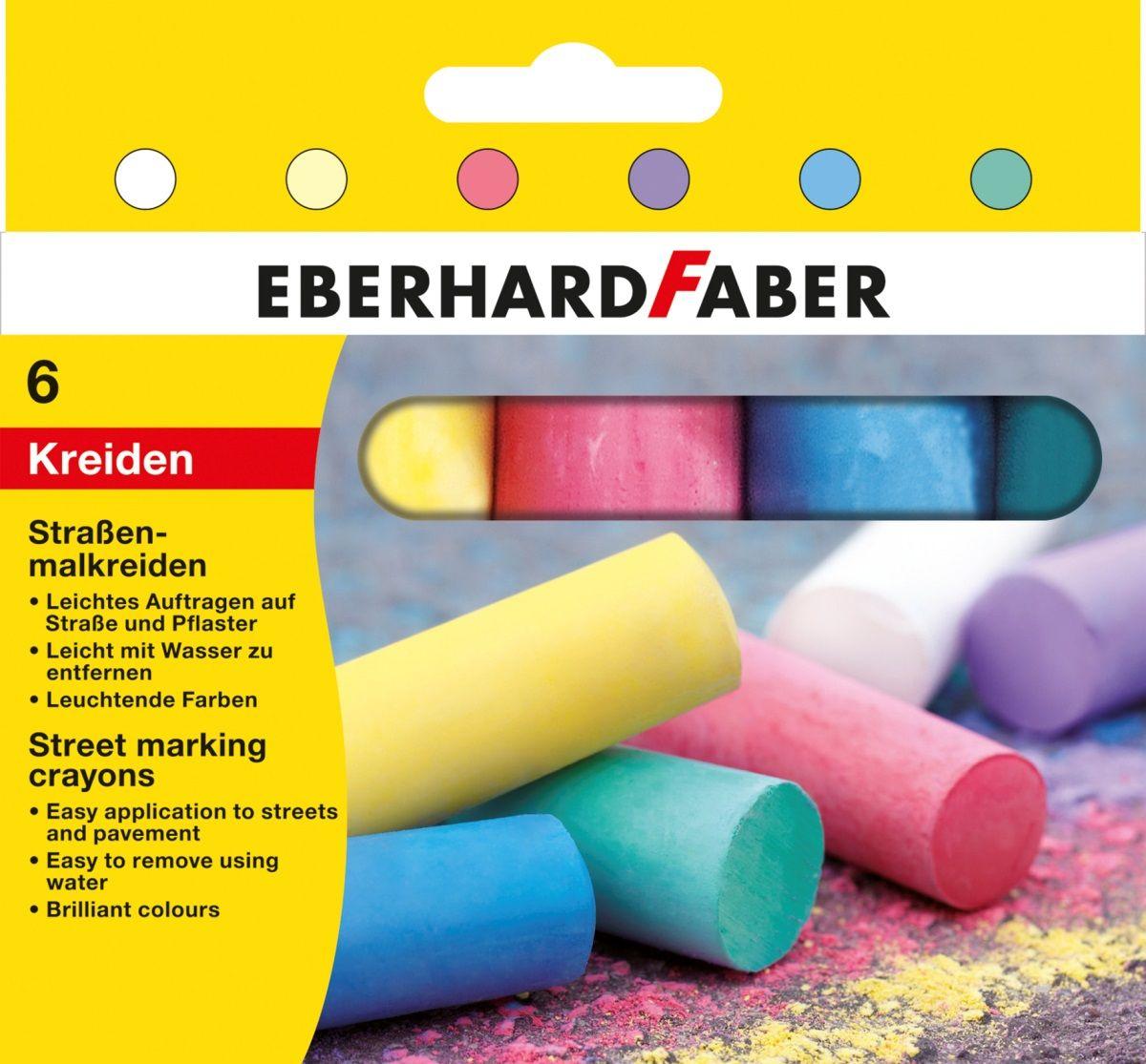 Eberhard Faber Мелки цветные круглые 6 шт526506Цветные мелки Eberhard Faber идеально подойдут для детского художественного творчества. Круглая форма позволяет чертить и рисовать без напряжения руки. Яркие цвета обеспечивают лучшую читаемость и наглядность.Цветные мелки помогут малышу развить мелкую моторику рук, наглядно-образное мышление, координацию движений, творческое мышление, фантазию, а также познакомят его с понятиями цвета и формы. Цветные мелки высшего качества подходят для любых школьных досок.