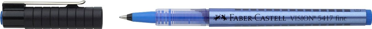 Faber-Castell Ручка-роллер Vision 5417 синяя541751Шариковая ручка-роллер Faber-Castell Vision 5417 имеет высококачественные, не выцветающие пигментные чернила, соответствующие сертификату DIN ISO 14145/2. Равномерное письмо благодаря системе плавной дозировки чернил. Окошко для проверки уровня чернил.