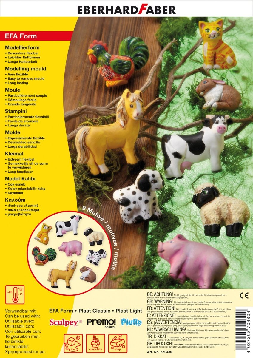 Eberhard Faber Набор формочек для лепки Домашние животные 9 шт570430Набор Eberhard Faber включает в себя 9 пластиковых формочек. Они великолепно сочетаются как с порошковой продукцией EFA Form, так и с массами для лепки Sculpey, Premo. Формочки помогут создать фигурки домашних животных. Выполнены из высококачественного пластика. Фигурки прочные с точной детализацией элементов.