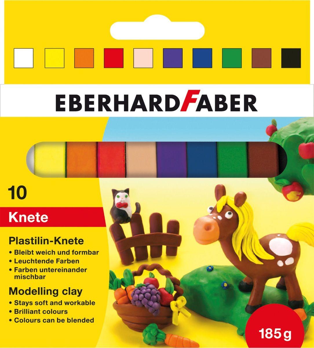 Eberhard Faber Пластилин 10 цветов 185 г572011Пластилин Eberhard Faber отлично подойдет для развития мелкой моторики и воображения у ребенка.В комплект входит пластилин десяти ярких и насыщенных цветов. Все цвета очень хорошо смешиваются, легко разминаются и меняют форму.Лепка - очень полезное занятие для малышей с раннего возраста. Она развивает мелкую моторику, помогает легко изучить формы и цвета.