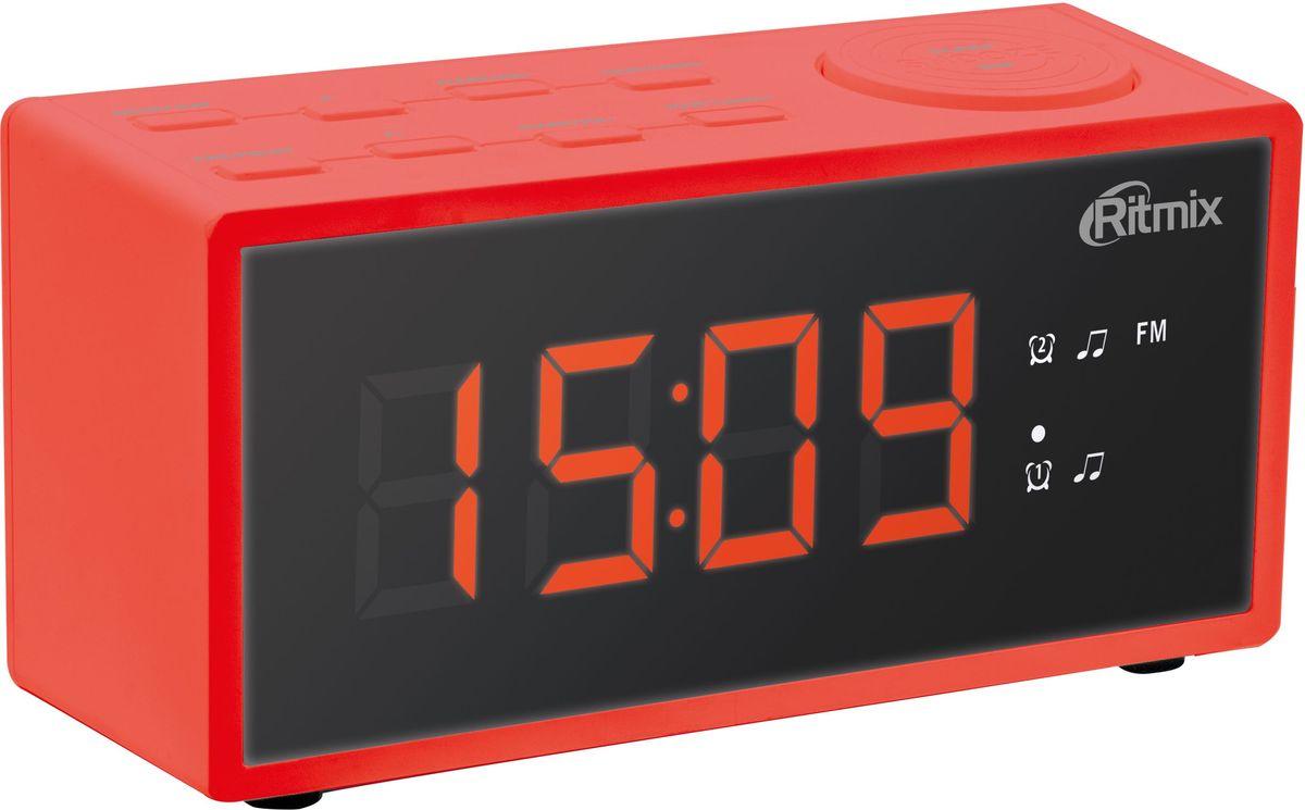 Ritmix RRC-1212, Red радио-будильник15118408Ritmix RRC-1212 - это компактные FM-радиочасы с функцией будильника. Встроенный дисплей имеет большие яркие цифры высотой 3 см. Модель удобна и проста в управлении и имеет множество полезных функций: несколько будильников с возможностью повтора, таймер выключения, настройка 20 радиостанций и регулировка подсветки.Длина кабеля: 1,4 м