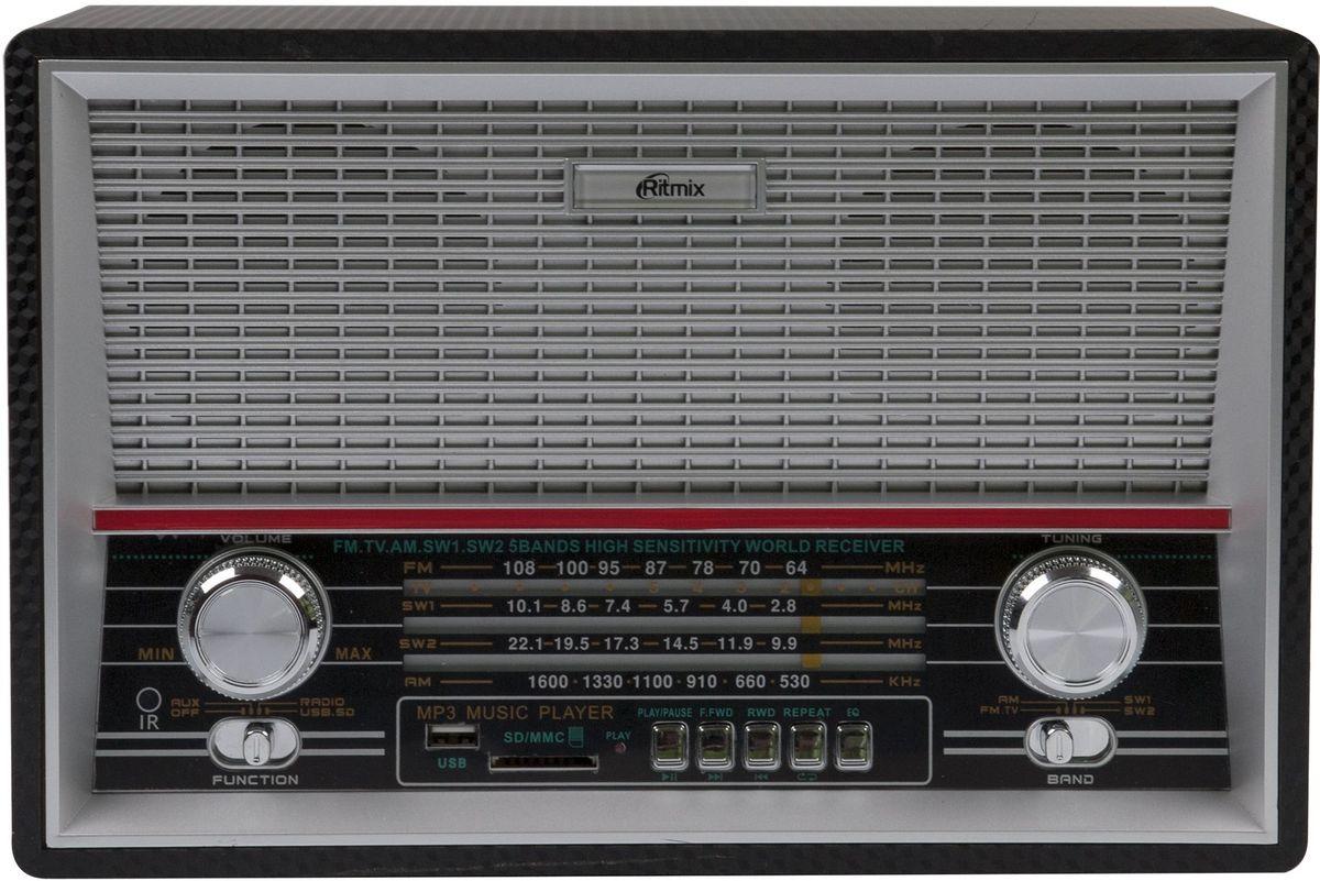 Ritmix RPR-101, Black радиоприемник15118563Радиоприемник вретро-стиле RITMIX RPR-101. Цвет: карбон черный. Три диапазона. Встроенный аккумулятор. Пульт управления. AUX IN/OUT. Поворотная антенна. Встроенный MP3-плеер.