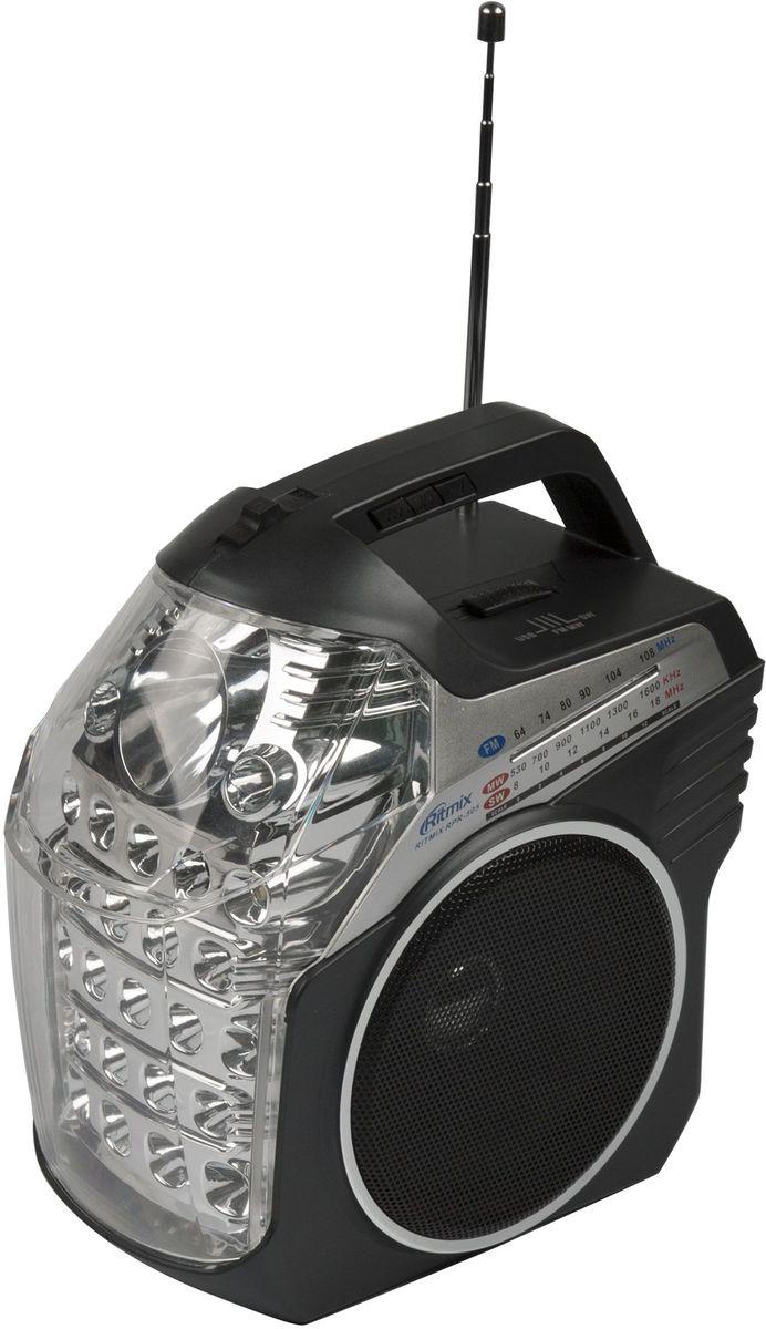 Ritmix RPR-505 радиоприемник15118566Радиоприемник RITMIX RPR-505. Двойной светодиодный фонарь. Три диапазона приёма:FM диапазон (64–108 МГц)КВ диапазон (8–18 МГц)СВ диапазон (530–1600 кГц). Три источника питания:встроенный аккумулятортри батарейки R20 сеть 220 В. USB/SD.