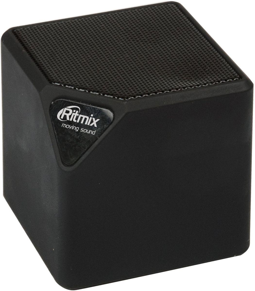 Ritmix SP-140B, Black портативная акустическая система15118766Портативная колонка Ritmix SP-140B позволит не расставаться с любимой музыкой, наслаждаясь ей даже без наушников. Компактный 40-миллиметровый динамик мощностью 3 Вт способен легко справиться с любым музыкальным жанром. Компактная акустическая мини-система не подведет и при просмотре фильмов с динамичными басами.Устройство оборудовано разъемом 3,5 мм (AUX) для подключения внешних источников аудиосигнала. Также Ritmix SP-140B может выполнять роль HandsFree-гарнитуры. Настройка громкости производится с помощью регулятора у основания колонки. Модель оснащена FM-тюнером, позволяющим прослушивать любимые радиостанции.