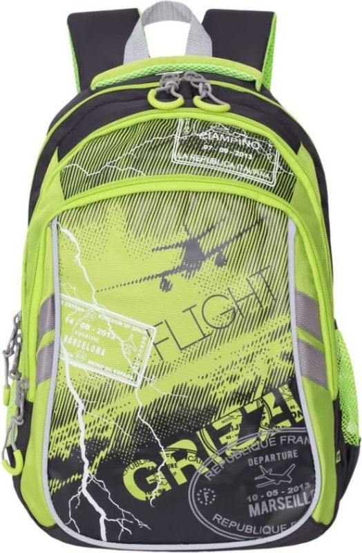 Grizzly Рюкзак цвет черный салатовый RB-733-2/2RB-733-2/2Школьный рюкзак Grizzly - это необходимый аксессуар для любого школьника. Рюкзак выполнен из плотного материала и оформлен оригинальным принтом с изображением молний спереди.Рюкзак имеет два основных отделения, закрывающихся на застежки-молнии с двумя бегунками, а также вместительный накладной карман спереди. По бокам рюкзак дополнен двумя открытыми карманами-сетками. Внутри накладного кармана спереди располагается органайзер - карман-сетка на молнии, большой накладной карман и три маленьких накладных кармашка для канцелярских принадлежностей. Внутри одного основного отделения расположен укрепленный накладной карман для планшета, дополненный прорезным карманом на молнии. Второе отделение не имеет карманов. Рюкзак оснащен удобной текстильной ручкой для переноски в руке, петлей для подвешивания и светоотражающими вставками.Спинка дополнена эргономичными воздухопроницаемыми подушечками, которые обеспечивают удобство и комфорт при носке. Мягкие анатомические лямки скругленной формы регулируются по длине.Многофункциональный школьный рюкзак станет незаменимым спутником вашего ребенка в походах за знаниями.
