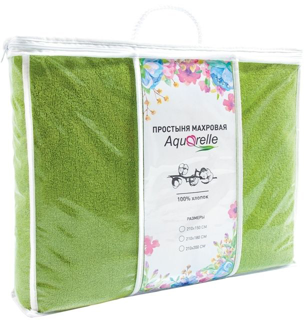 Простынь Aquarelle Комплимент, цвет: травяной, 210 х 150 см711278Махровые простыни ТМ Aquarelle универсальны - их можно использовать как замену одеяла летом, как простыню зимой, а также в качестве пледа, покрывала или даже большого банного полотенца.Преимущества махровых простыней: 1. Натуральность- используем только высококачественный 100% хлопок;2. Комфортность- ткань приятная по текстуре, мягкая и эластичная; 3. Массажный эффект – махровый ворс оказывает легкое массажное действие, которое успокаивает нервную систему и нормализует сон;4. Воздухопроницаемость- ткань хорошо пропускает воздух, позволяя коже дышать;5. Гигроскопичность- ткань хорошо впитывает влагу;6. Оптимальный температурный баланс: когда холодно махра надежно удерживает тепло, а когда тепло обеспечит комфорт за счет своих «дышащих» свойств. Для простыней ТМ Aquarelle выбрана плотность 400г/м2 и использована двойная крученая нить, что делает полотно ровным, гладким и снижает риск вытягивания петель