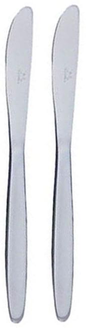 """Набор столовых ножей """"Tescoma"""" состоит из 2 предметов, выполненных из нержавеющей стали. Ручки ножей оформлены матовой полировкой с оригинальным узором, что придает им строгость и изысканность. Сервировка праздничного стола таким набором станет великолепным украшением любого торжества.   Характеристики:  Материал: нержавеющая сталь. Длина ножа: 21 см. Длина лезвия: 9 см. Изготовитель: Чехия. Артикул: 795451."""