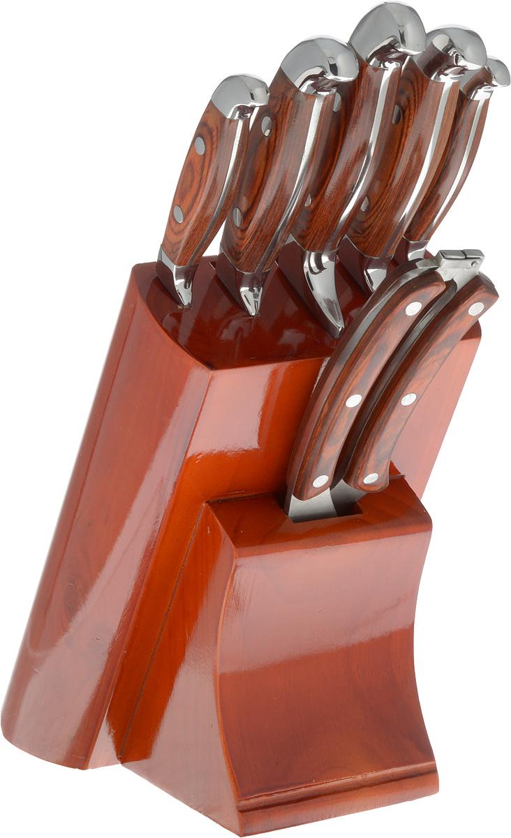 """Набор ножей """"Mayer & Boch"""" состоит из 5 ножей, ножниц и подставки. Ножи и ножницы выполнены  из нержавеющей стали, ручки - из дерева. Удобная деревянная подставка поможет хранить все  ножи в одном месте.  Оригинальный набор ножей великолепно украсит интерьер кухни и станет замечательным  помощником.  Можно мыть в посудомоечной машине.  Длина лезвия поварского ножа: 20,3 см. Общая длина поварского ножа: 33 см. Длина лезвия хлебного ножа: 20,3 см. Общая длина хлебного ножа: 33 см. Длина лезвия разделочного ножа: 20,3 см. Общая длина разделочного ножа: 33 см. Длина лезвия универсального ножа: 12,7 см. Общая длина универсального ножа: 24 см. Длина лезвия ножа для очистки: 8,9 см. Общая длина ножа для очистки: 20 см. Длина лезвия ножниц: 9 см. Размер ножниц: 26 х 5 х 2 см. Размер подставки: 16,5 х 13 х 22 см."""