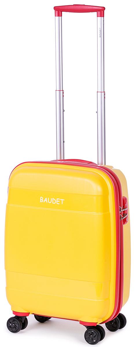 Чемодан Baudet, на колесах, цвет: желтый, красный, 48 х 35 х 22 см, 37 лBHL0708802-48Чемодан Baudet надежный и практичный в путешествии. Выполнен из прочного и ударостойкого полипропилена, материал внутренней отделки - полиэстеровая ткань серого цвета. Чемодан содержит продуманную внутреннюю организацию. Имеется одно большое отделение, которое закрывается по периметру на застежку-молнию . Внутри содержатся два больших отдела для хранения одежды с перекрещивающимися ремнями. Для легкой и удобной перевозки чемодан оснащен четырьмя колесами, вращающимися на 360 градусов. Телескопическая ручка выдвигается нажатием на кнопку и фиксируется в двух положениях. Сверху предусмотрена ручка для поднятия чемодана.Чемодан оснащен кодовым замком TSA, который исключает возможность взлома. Отверстие для ключа в кодовом замке предназначено для работников таможни (открытие багажа для досмотра без присутствия хозяина). Ключ находится только у таможни и в комплекте с чемоданом не идет.Чемодан подходит под размер ручной клади большинства авиакомпаний.Объем: 37 л.Высота корпуса чемодана: 48 см.