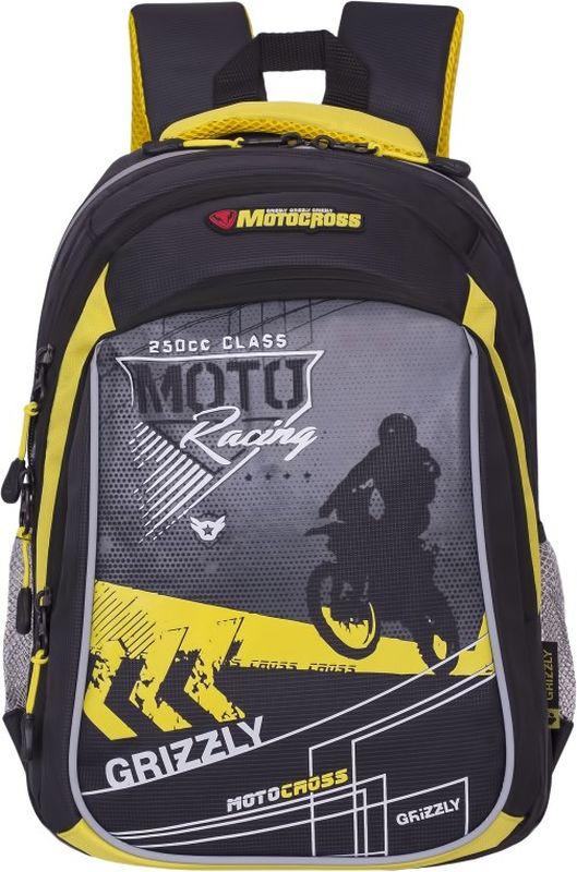 Grizzly Рюкзак цвет серый желтый RB-733-1/4RB-733-1/4Школьный рюкзак Grizzly - это необходимый аксессуар для любого школьника. Рюкзак выполнен из плотного материала и оформлен оригинальным принтом с изображением мотоциклиста спереди.Рюкзак имеет два основных отделения, закрывающихся на застежки-молнии с двумя бегунками, а также вместительный накладной карман спереди. По бокам рюкзак дополнен двумя открытыми карманами-сетками. Внутри накладного кармана спереди располагается органайзер - карман-сетка на молнии, большой накладной карман и три маленьких накладных кармашка для канцелярских принадлежностей. Внутри одного основного отделения расположен укрепленный накладной карман для планшета, дополненный прорезным карманом на молнии. Второе отделение не имеет карманов. Рюкзак оснащен удобной текстильной ручкой для переноски в руке, петлей для подвешивания и светоотражающими вставками.Спинка дополнена эргономичными воздухопроницаемыми подушечками, которые обеспечивают удобство и комфорт при носке. Мягкие анатомические лямки скругленной формы регулируются по длине.Многофункциональный школьный рюкзак станет незаменимым спутником вашего ребенка в походах за знаниями.