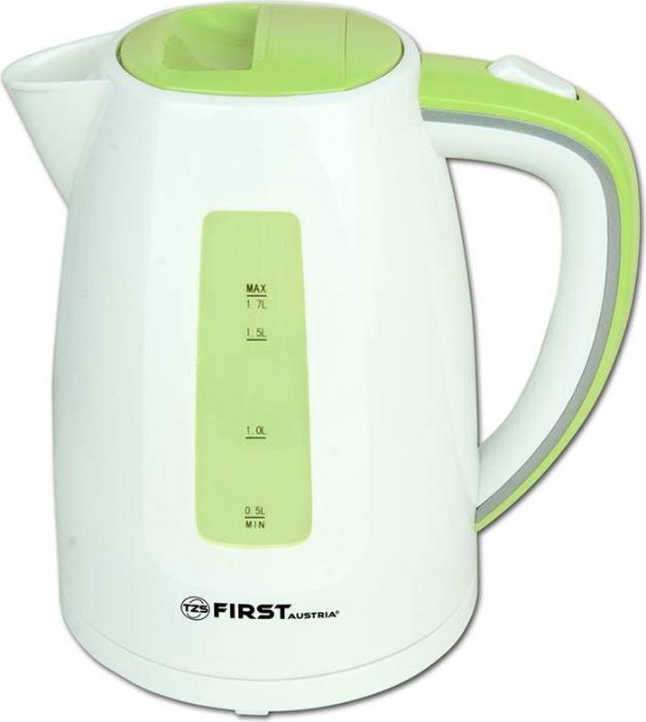First 5427-7, White Green чайник электрическийFA-5427-7 White/GreenЭлектрический чайник First 5427-7 прост в управлении и долговечен в использовании. Корпус выполнен из качественных материалов. Оснащен внутренней подсветкой емкости. Мощность 2200 Вт быстро вскипятит 1,7 литра воды. Беспроводное соединение позволяет вращать чайник на подставке на 360°. Для обеспечения безопасности при повседневном использовании предусмотрены функция автовыключения, а также защита от включения при отсутствии воды.